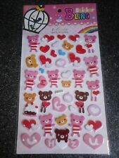 5X PACKS BEAR AND HEART 3D PUFFY STICKERS BNIP PARTY GIFTS ART CRAFTS REWARDS