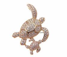 chapado en oro rosa plata 925 HAWÁI Sea Turtle Madre Bebé Pendiente