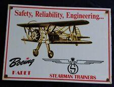 VINTAGE BOEING KADET STEARMAN TRAINERS MANUFACTURER PORCELAIN ADVERTISING SIGN