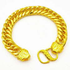 24k Yellow Gold Bracelet Womens Mens 12mm Bold Dragon Chain Link w GiftPg D799