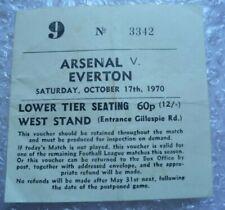 ARSENAL TICKET Arsenal v Everton 17 Oct 1970 Double Season