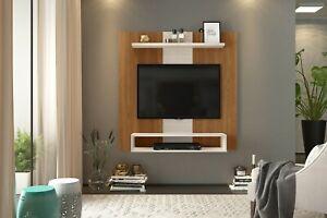 Wall Mounted TV Floating Panel Media Unit Shelving Wood Effect Oak White Jarvis