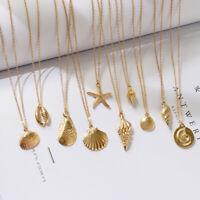 Seesterne Shell Anhänger Halskette Alloy Cowrie Conch Goldene Farbkette