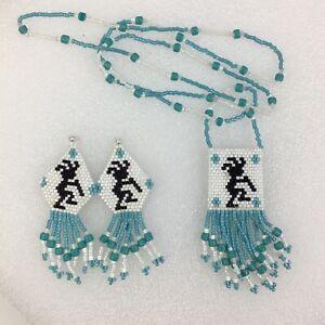 """Kokopelli Jewelry Set Handmade In AZ Seed Bead Dangle Earrings 1""""Pocket Necklace"""