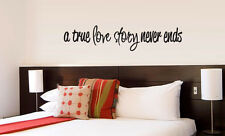 A True Love Story Never Ends vinyl wall lettering quote decor/decal cute