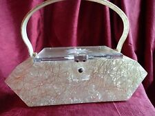 Vintage Iridescent Gold Threaded Creamy Yellow Confetti LuclTe Purse *Sparkles!