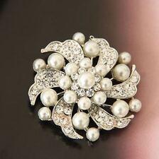 Crema Perlas de Imitación & Diamante Hoja de diamantes de imitación de cristal brillante y Flor Broche