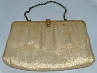 Vintage Gold Metallic Evening Bag with Pink Satin Lining & Fold In Chain Handle