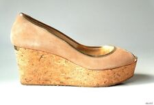 new JIMMY CHOO beige suede gold leather open-toe cork logo wedges shoes 41 11