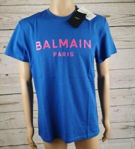 BALMAIN Paris T-shirt Gr. L Blau Frontprint Pink Pierre Balmain SALE Sonderpreis