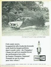 PUBLICITE ADVERTISING 116  1966  bougies Champion  Peugeot safari Bert Shankland