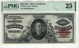 1891 $20 SILVER CERTIFICATE NOTE FR.320 LYONS ROBERTS PMG VERY FINE VF 25 (980)