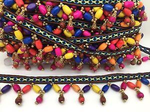 Colourful Beaded fringe. Wood Beads Fringing Trim on Ribbon