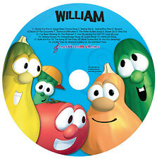 Personalized Veggie Tales  Silly Songs CD, Real Voices of Bob and Larry name 44X