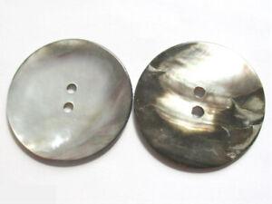XXL groß Perlmuttknopf rund 44 mm silber grau naturgrau Knöpfe