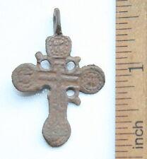Ancient Old Bronze Golgotha Ornament Cross (JUL10)