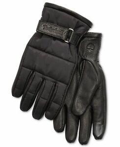 Timberland Men's Winter Gloves Black Size Medium M Quilted Cuff $98 #185