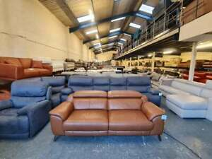 Ex-display Collins brown leather electric recliner 3 seater sofa