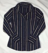 EUC Women's New York and Co. Navy Blue and Gold Long Sleeve Top w/Stretch-Size M