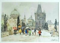 ARTIST SIGNED ORIGINAL WATERCOLOR PAINTING OF STATUES AND PEOPLE