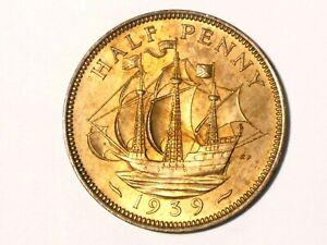 1939 British George VI Half Penny Coin #SP22