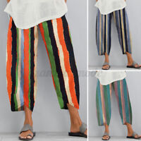 Womens Summer Beach Stripe Casual Loose Cotton Linen Pants Ladies Baggy Trousers