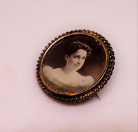 Antique Victorian Mourning  Brooch Photograph signed Mother 1900 Art Nouveau