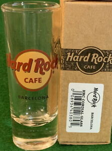 "Hard Rock Cafe BARCELONA SHOT GLASS 4"" Classic HRC Logo RED CIRCLE with Box!"
