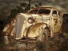 OLD RUSTED ABANDONED CAR PHOTO ART PRINT POSTER PICTURE BMP453A