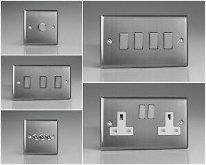 Varilight Classic Brushed Steel Range - White Inserts & Brushed Steel Switches