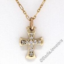 "14K Yellow Gold 0.39ctw F VS Round Brilliant Diamond Cross Pendant w/ 16"" Chain"