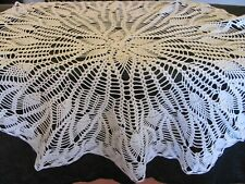 Vintage White Crochet Round Tablecloth - Pineapple - Pinecone - Conch Pattern