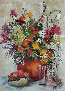 ORIGINAL OIL PAINTING Still Life Flowers Fruit Glass Kitchen Bouquet YARY DLUHOS