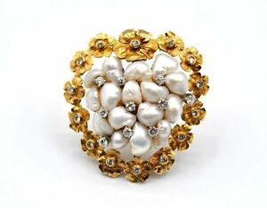 14k Yellow Gold 0.08 ct Diamonds Pearl Flower Design Heart Brooch #E