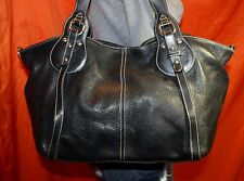 FURLA Made In ITALY Black Lrg Leather Shouldr Hobo Tote Satchel Slouch Purse Bag