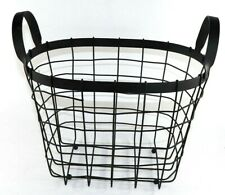 "12"" Metal Wire Basket with Handles Black"