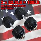 Full Metal 105 lbs Dumbbells - 2 x 52.5 lbs Adjustable Black Plated Dumbbells