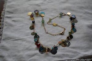 Vintage Holly Yashi Niobium Beaded Gem Dangle Charms Necklace