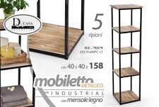 Mobile scaffale in metallo 5 ripiani con mensole in legno 40*40*158cm ITU-752179