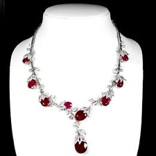 PIGEON BLOOD RED RUBY MAIN STONE 93.40 CT. SAPPHIRE 925 SILVER JEWELRY NECKLACE