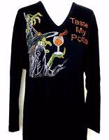 X-LARGE Black Top Halloween Rhinestone Embellished Witch Taste My Potion Top