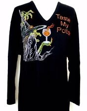 PLUS 2X Black Top Halloween Rhinestone Embellished Witch Taste My Potion Top