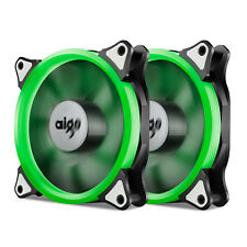 2x Aigo  Green Halo LED 120mm PC CPU Computer Case Cooling Neon Clear Fan Mod