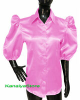 Pink Women Satin Shirt Shirt/Blouse Short Puff Sleeve Office/Party Wear Top
