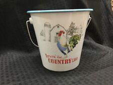 Enamelware Rooster Bucket