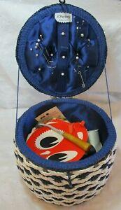 Vintage Sewing Basket Blue White Checked Japan FULL Spool Needles Bakelite Wheel