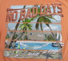 "NO BAD DAYS ""Takin It Easy!"" Beach Scene Vacation SS Orange T Shirt Size M"