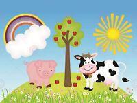 Painting Drawing Children Kids Farm Animals Sun Rainbow Canvas Art Print