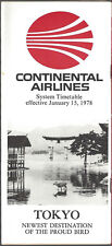 Continental Airlines system timetable 1/15/78 [7084]