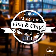 Fish And Chips Sold Here Shop Window, Door, Wall Sign Advert Vinyl Decal Sticker